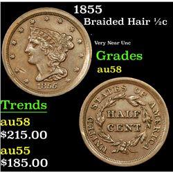 1855 Braided Hair Half Cent 1/2c Grades Choice AU/BU Slider