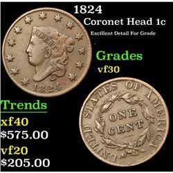 1824 Coronet Head Large Cent 1c Grades vf++