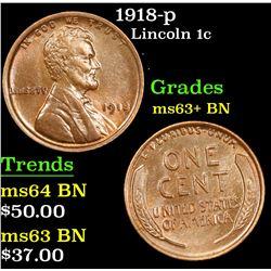 1918-p Lincoln Cent 1c Grades Select+ Unc BN