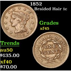 1852 Braided Hair Large Cent 1c Grades xf+