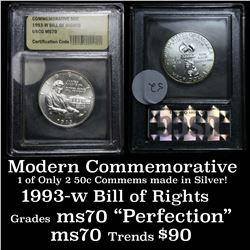 1993-w Bill of Rights . . Modern Commem Half Dollar 50c Graded ms70, Perfection By USCG