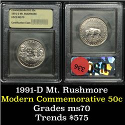 1991-d Mount Rushmore . . Modern Commem Half Dollar 50c Graded ms70, Perfection By USCG