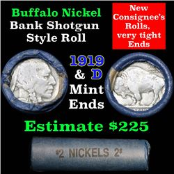 Buffalo Nickel Shotgun Roll in Old Bank Style Wrapper 1919 & d Mint Ends (fc)