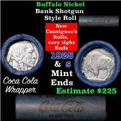 Buffalo Nickel Shotgun Roll in Old Bank Style Wrapper 1925 & s Mint Ends (fc)