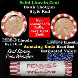 Mixed small cents 1c orig shotgun roll,1916 an D Ends