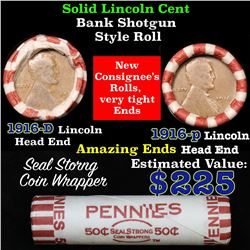 Mixed small cents 1c orig shotgun roll,1916 an D Ends