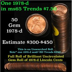 Full roll of 1978-d Lincoln Cents 1c Uncirculated Condition . .