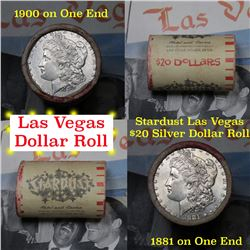**Auction Highlight** Full Morgan/Peace Stardust Casino silver $1 roll $20, 1881 & 1900 ends . (fc)