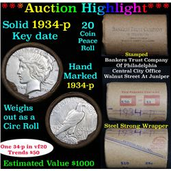 ***Auction Highlight*** Full solid date 1934-p Peace silver dollar roll, 20 coins   (fc)