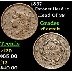 1837 Coronet Head Large Cent 1c Grades vf details