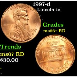 1997-d Lincoln Cent 1c Grades GEM++ RD