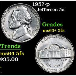 1957-p Jefferson Nickel 5c Grades Select Unc+ 5fs