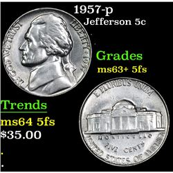 1957-p Jefferson Nickel 5c Grades Select Unc+ 5fs