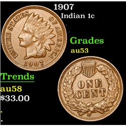 1907 Indian Cent 1c Grades Select AU