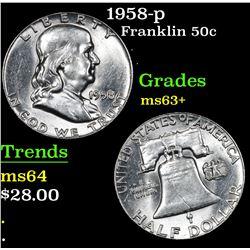1958-p Franklin Half Dollar 50c Grades Select+ Unc