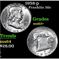 1958-p Franklin Half Dollar 50c Grades Select+ Unc