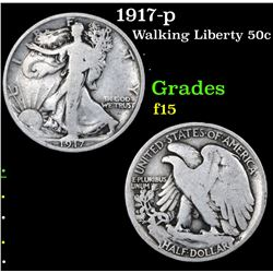 1917-p Walking Liberty Half Dollar 50c Grades f+