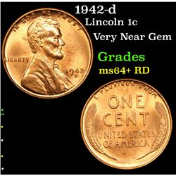 1942-d Lincoln Cent 1c Grades Choice+ Unc RD