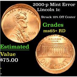 2000-p Mint Error Lincoln Cent 1c Grades Gem+ Unc RD