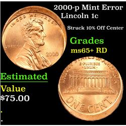 2000-p Mint Error Lincoln Cent 1c Grades Gem+ Unc RD