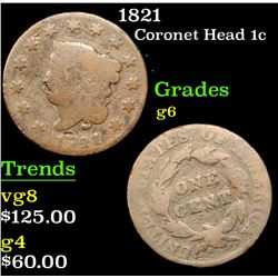 1821 Coronet Head Large Cent 1c Grades g+