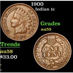 1900 Indian Cent 1c Grades Choice AU