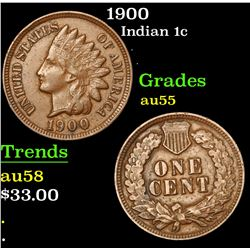 1900 Indian Cent 1c Grades Choice AU