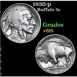 1930-p Buffalo Nickel 5c Grades vf+