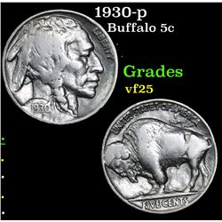 1930-p Buffalo Nickel 5c Grades vf+