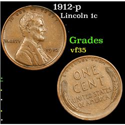 1912-p Lincoln Cent 1c Grades vf++