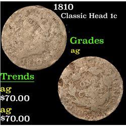 1810 Classic Head Large Cent 1c Grades ag
