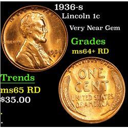 1936-s Lincoln Cent 1c Grades Choice+ Unc RD