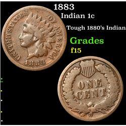 1883 Indian Cent 1c Grades f+