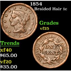 1854 Braided Hair Large Cent 1c Grades vf+
