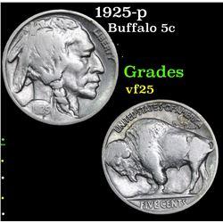 1925-p Buffalo Nickel 5c Grades vf+
