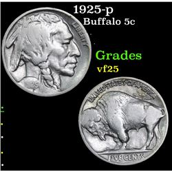 1925-p Buffalo Nickel 5c Grades vf+
