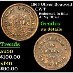 1863 Oliver Boutwell Civil War Token 1c Grades AU Details