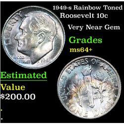 1949-s Rainbow Toned Roosevelt Dime 10c Grades Choice+ Unc