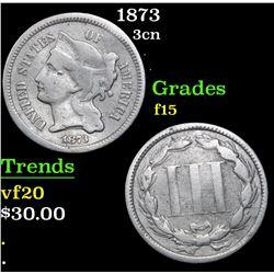 1873 Three Cent Copper Nickel 3cn Grades f+