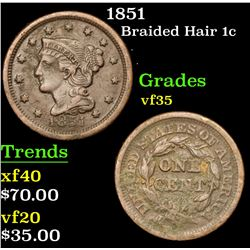 1851 Braided Hair Large Cent 1c Grades vf++