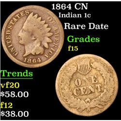 1864 CN Indian Cent 1c Grades f+