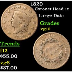 1820 Coronet Head Large Cent 1c Grades vg+