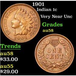 1901 Indian Cent 1c Grades Choice AU/BU Slider