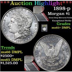 ***Auction Highlight*** 1898-p Morgan Dollar $1 Graded GEM+ DMPL By USCG (fc)
