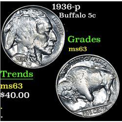 1936-p Buffalo Nickel 5c Grades Select Unc