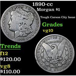 1890-cc Morgan Dollar $1 Grades vg+