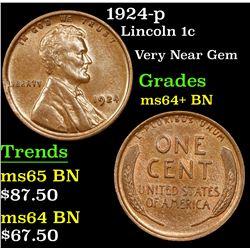 1924-p Lincoln Cent 1c Grades Choice+ Unc BN