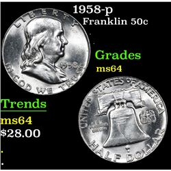 1958-p Franklin Half Dollar 50c Grades Choice Unc