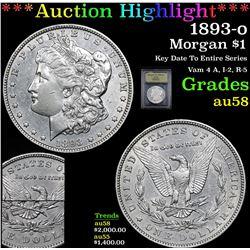 ***Auction Highlight*** 1893-o Morgan Dollar $1 Graded Choice AU/BU Slider By USCG (fc)