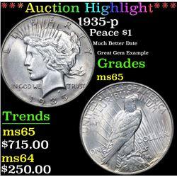 ***Auction Highlight*** 1935-p Peace Dollar $1 Graded GEM Unc By USCG (fc)